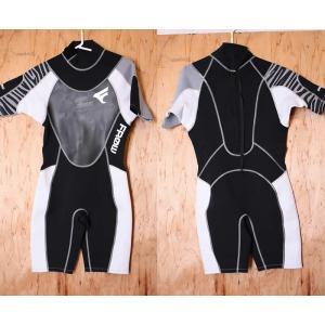 【中古】FROW(フロー)ウェットスーツ[BLACK×WHITE]メンズ Lサイズ 2mm バックジップ スプリング arasoan