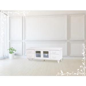 アンティーク風 テレビボード テレビ台 ローボード  ホワイト 幅120 お洒落 かわいい フェミニン お嬢様 MTV-5772WH|araya