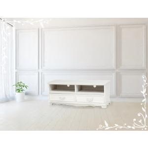 アンティーク風 テレビボード テレビ台 ローボード  ホワイト お洒落 かわいい フェミニン お嬢様 MTV-6598WH|araya