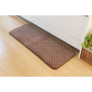 キッチンマット 洗える 無地 低反発 ベージュ 約45×180cm(中:低反発ウレタン20mm)|araya