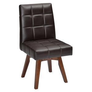 回転式 ダイニングチェアー/食卓椅子 〔ブラウン〕 1人掛け 幅44cm 木製脚付き 合皮/合成皮革 〔リビング〕〔代引不可〕|araya