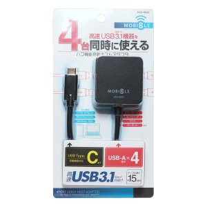 ミヨシ (MCO) USB-C対応 USB3.1 4ポート ハブ機能搭載ホストアダプタ ブラック SAD-HH03/BK araya