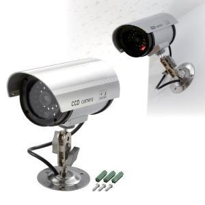 防犯ダミーカメラ LEDランプ付き 電池式 首振り角度調整可 (防犯対策)|araya