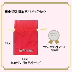 【ラッピング】巾着型 梨地ギフトバッグセット(レッド) Sサイズ〔24×24×底マチ12cm〕 arc-online