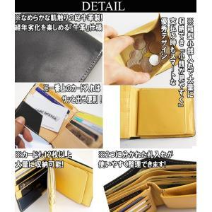 牛革 本革 財布 メンズ 財布 二つ折り メンズ サイフさいふ スマートデザイン ブランド レザーメンズファッション|arcade|03