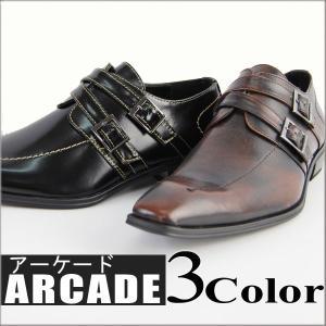 ビジネスシューズ/メンズ/ビジネスシューズ/靴/ダブルストラップビジネスシューズ|arcade