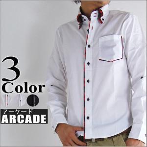 長袖シャツ メンズ 白シャツ  2枚襟 チェック デュエ ボタンダウンシャツ arcade