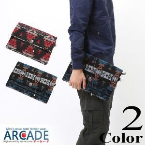 バッグ クラッチバッグ メンズ ネイティブ ジャガード織り オルテガ 柄|arcade