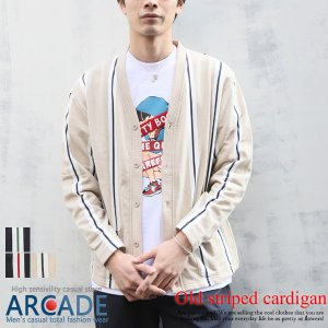 2019 春 新作 カーディガン メンズ オーバーサイズ 長袖 スウェット 裏毛 オールド ストライプ|arcade