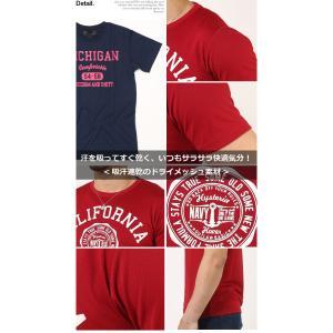 Tシャツ メンズ 吸汗速乾 ドライメッシュ素材 アメカジT カレッジT M L LL 3L 脇汗対策 メンズ トップス メンズファッション Tシャツ カットソー|arcade|03