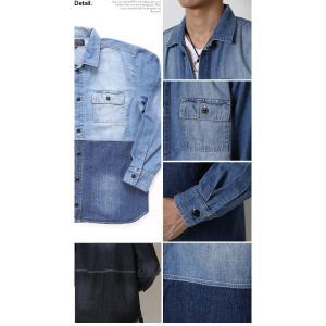 デニムジャケット メンズ アシンメトリー 切り替えデザイン ワーク カバーオール アウター ジャケット コート|arcade|05