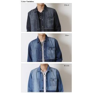 デニムジャケット メンズ アシンメトリー 切り替えデザイン ワーク カバーオール アウター ジャケット コート|arcade|06