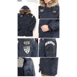 N3B メンズ ワッペン付き 中綿 ミリタリージャケット コート 防寒 ブルゾン 秋冬|arcade|03