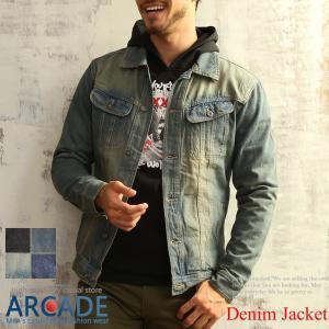 売り尽くし 破格 セール デニム ジャケット Gジャン 加工デニム Gジャン メンズ デニムシャツ|arcade