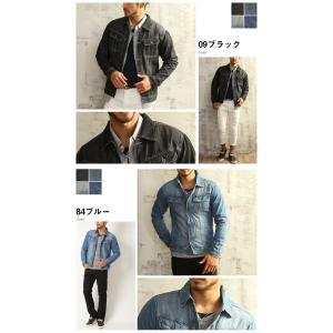 売り尽くし 破格 セール デニム ジャケット Gジャン 加工デニム Gジャン メンズ デニムシャツ|arcade|04