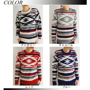 売り尽くしセール オルテガ柄 ジャガード織り ニット セーター|arcade|02