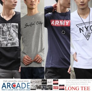 2019 春 新作 ロンT メンズ 長袖 アメカジTシャツ ロング Tシャツ Vネック 丸首 Tシャツ メンズTシャツ トラッド|arcade