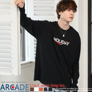半額セール 長袖Tシャツ メンズ ビッグシルエット プリント刺繍 USAコットン ロングスリーブ カットソー 2020 秋冬 新作|ARCADE