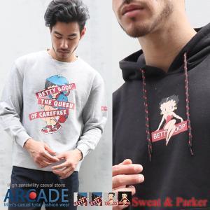 ベティー ブープ(TM) パーカー メンズ スウェット メンズ ベティーちゃん キャラクター プリント サガラ刺繍|arcade