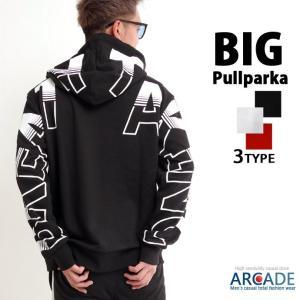 パーカー メンズ ビッグパーカー 袖プリント フードプリント 裏毛 長袖 メンズ プルパーカー|arcade