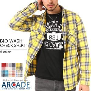 チェックシャツ メンズ バイオウォッシュ ヴィンテージ加工 長袖 カジュアルシャツ セール|arcade