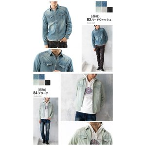 セール デニムシャツ メンズ 長袖 7分袖 デニム シャツ ウォッシュ加工 トップス メンズ 細身 スタイリッシュ デニムシャツ arcade 05