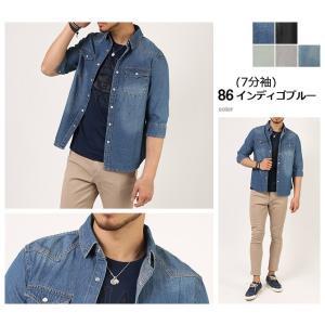 セール デニムシャツ メンズ 長袖 7分袖 デニム シャツ ウォッシュ加工 トップス メンズ 細身 スタイリッシュ デニムシャツ arcade 07
