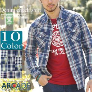 セール デニムシャツ チェックシャツ メンズ インディゴ チェック ウエスタン シャツ ヴィンテージ トップス|arcade