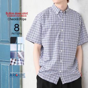 半袖 カジュアルシャツ シャツ ボタンダウンシャツ メンズ ストライプ チェック 柄シャツ トップス 2019 夏 新作|arcade
