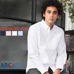 セール シャツ メンズ オックスフォードシャツ 切替デザイン 長袖 シャツ|arcade