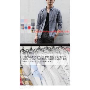 令和記念セール 清涼 薄手 ワッフル素材 綿麻 リネンシャツ 七分袖 無地 ストライプ ボーダー チェック シャツ 2019 春夏 新作|arcade|02