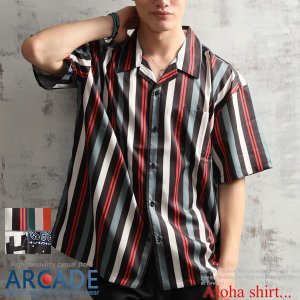 オーバーサイズ ビッグサイズ 開襟シャツ メンズ アロハシャツ 半袖シャツ オープンカラーシャツ 柄 ストライプ ポリエステル 2019 夏 新作|arcade