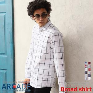 ポッキリセール カジュアルシャツ メンズ 長袖 ストライプ チェック 柄シャツ ブロードシャツ|ARCADE