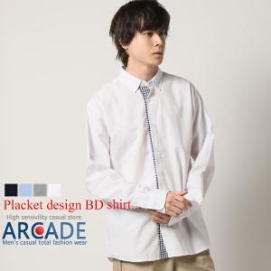 カジュアルシャツ ボタンダウンシャツ メンズ 長袖 オックスフォード シャツ 前立て チェック 2021 春 新作|ARCADE