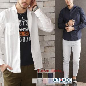 セール 綿麻 シャツ メンズ ちび襟 ワイドカラー ホリゾンタルカラー リネンシャツ 長袖 トップス|arcade