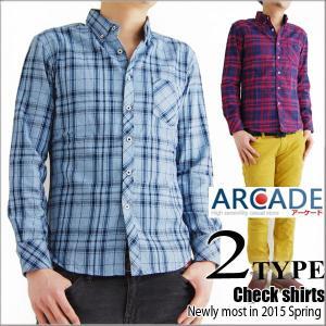 セール ボタンダウンシャツ 長袖シャツ カジュアルシャツメンズ デニム調 チェックシャツ|arcade