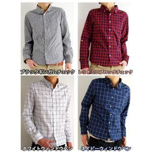 チェックシャツ ワイヤー使い 長袖シャツ カジュアル シャツ ボタンダウンシャツ ギンガムチェック アメカ|arcade|02