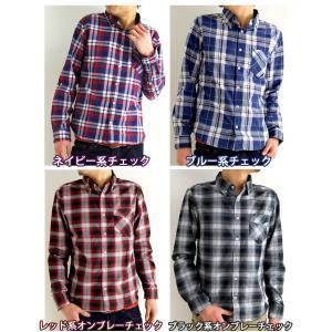 チェックシャツ ワイヤー使い 長袖シャツ カジュアル シャツ ボタンダウンシャツ ギンガムチェック アメカ|arcade|03