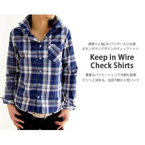 チェックシャツ ワイヤー使い 長袖シャツ カジュアル シャツ ボタンダウンシャツ ギンガムチェック アメカ|arcade|05