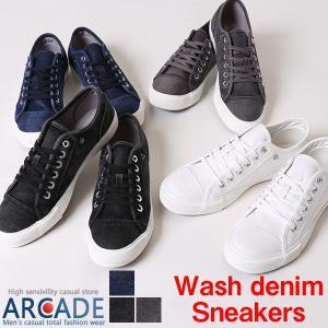 ウォッシュ加工 デニムスニーカー ローカット メンズ シューズ・靴|arcade