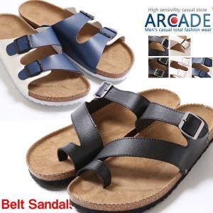 サンダル メンズ ベルトサンダル  メンズ PU レザー ベルト 靴 シューズ 海 夏 シンプル|arcade