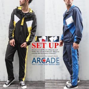 上下 セットアップ レトロ切替 パーカー&パンツ セットアップ 2019 春 新作|arcade