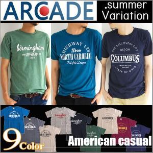 Tシャツ メンズ 半袖 アメカジ カレッジT リサイクルコットン arcade