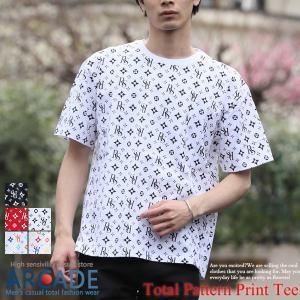 Tシャツ メンズ プリントTシャツ 半袖 ビッグシルエット 総柄プリント クルーネック ストリート おしゃれ  2019 春 夏 新作|arcade