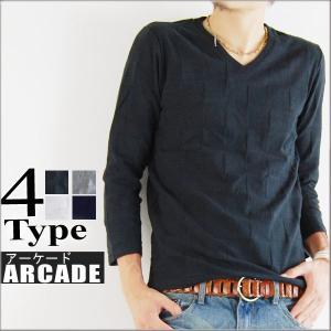 7分袖七分袖/メンズ/カットソー/格子柄Vネックカットソー|arcade