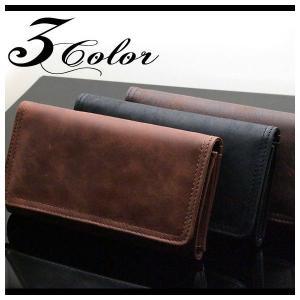 財布 コインケース/ビンテージ加工リアルレザー三つ折り財布長財布|arcade