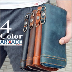 本革 ビンテージ ラウンドファスナー 長財布|arcade