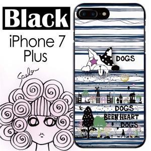 ScoLar スカラー iPhone7 Plus ブラック ケース ドッグ 街並みシルエット 影絵 ...