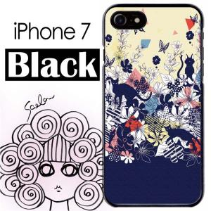 ScoLar スカラー iPhone7 ブラック ケース ネコ スカラー花蝶プリント メルヘン シル...