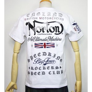 Norton ノートン 服 ユニオンジャックMAX刺繍入り 半袖Tシャツ 192N1001【ホワイト】(1986)新品/送料無料|arches